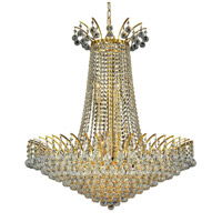 Elegant Lighting Victoria 16 Light Dining Chandelier in Gold with Swarovski Strass Clear Crystal 8031D29G/SS