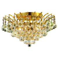 Elegant Lighting Victoria 6 Light Flush Mount in Gold with Swarovski Strass Clear Crystal 8031F16G/SS