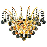 Elegant Lighting Victoria 3 Light Wall Sconce in Gold with Swarovski Strass Clear Crystal 8031W16G/SS