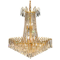 Elegant Lighting Victoria 16 Light Dining Chandelier in Gold with Swarovski Strass Clear Crystal 8032D29G/SS