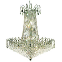 Elegant Lighting Victoria 16 Light Dining Chandelier in Chrome with Elegant Cut Clear Crystal 8033D29C/EC