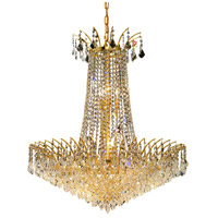 Elegant Lighting Victoria 16 Light Dining Chandelier in Gold with Swarovski Strass Clear Crystal 8033D29G/SS