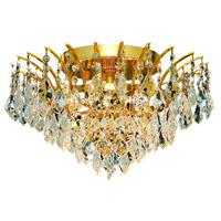 Elegant Lighting Victoria 6 Light Flush Mount in Gold with Swarovski Strass Clear Crystal 8033F16G/SS