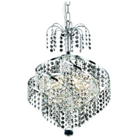 Elegant Lighting Spiral 3 Light Pendant in Chrome with Royal Cut Clear Crystal 8052D14C/RC