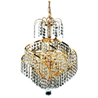 Elegant Lighting Spiral 3 Light Pendant in Gold with Royal Cut Clear Crystal 8052D14G/RC