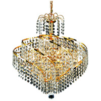 Elegant Lighting Spiral 8 Light Dining Chandelier in Gold with Elegant Cut Clear Crystal 8052D18G/EC