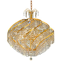 Elegant Lighting Spiral 15 Light Dining Chandelier in Gold with Elegant Cut Clear Crystal 8052D26G/EC