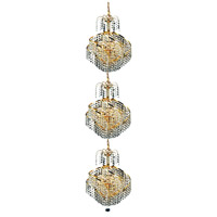 Spiral 9 Light 14 inch Gold Foyer Ceiling Light in Elegant Cut