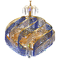Elegant Lighting Spiral 15 Light Dining Chandelier in Gold with Swarovski Strass Crystal 8053D26G/SS