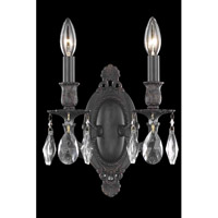 Elegant Lighting Rosalia 2 Light Wall Sconce in Dark Bronze with Elegant Cut Clear Crystal 8202W9DB/EC