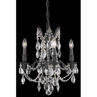 Elegant Lighting Rosalia 4 Light Dining Chandelier in Dark Bronze with Elegant Cut Clear Crystal 8204D17DB/EC