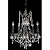 Elegant Lighting Rosalia 5 Light Dining Chandelier in Dark Bronze with Royal Cut Clear Crystal 8205D18DB/RC