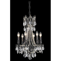 Elegant Lighting Rosalia 6 Light Dining Chandelier in Dark Bronze with Royal Cut Clear Crystal 8206D16DB/RC