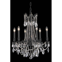 Elegant Lighting Rosalia 6 Light Dining Chandelier in Dark Bronze with Royal Cut Clear Crystal 8206D23DB/RC
