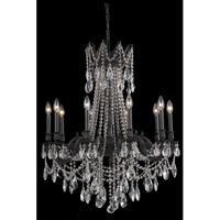 Elegant Lighting Rosalia 10 Light Dining Chandelier in Dark Bronze with Elegant Cut Clear Crystal 8210D28DB/EC
