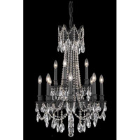 Elegant Lighting Rosalia 12 Light Dining Chandelier in Dark Bronze with Elegant Cut Clear Crystal 8212D24DB/EC