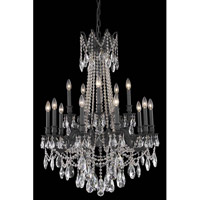 Elegant Lighting Rosalia 15 Light Dining Chandelier in Dark Bronze with Elegant Cut Clear Crystal 8215D28DB/EC