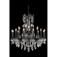 Elegant Lighting Rosalia 24 Light Dining Chandelier in Dark Bronze with Elegant Cut Clear Crystal 8224D36DB/EC