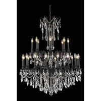 Elegant Lighting Rosalia 24 Light Foyer in Dark Bronze with Swarovski Strass Clear Crystal 8224G36DB/SS