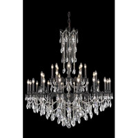 Elegant Lighting Rosalia 32 Light Foyer in Dark Bronze with Elegant Cut Clear Crystal 8232G48DB/EC