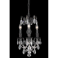 Elegant Lighting Marseille 3 Light Dining Chandelier in Dark Bronze with Elegant Cut Clear Crystal 8503D13DB/EC