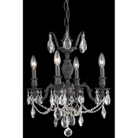 Elegant Lighting Marseille 4 Light Dining Chandelier in Dark Bronze with Elegant Cut Clear Crystal 8504D17DB/EC