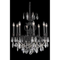 Elegant Lighting Marseille 8 Light Dining Chandelier in Dark Bronze with Elegant Cut Clear Crystal 8508D24DB/EC