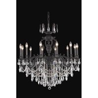 Elegant Lighting Marseille 12 Light Dining Chandelier in Dark Bronze with Elegant Cut Clear Crystal 8512D36DB/EC