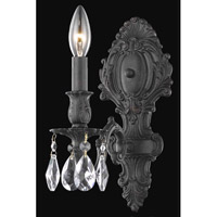Elegant Lighting Monarch 1 Light Wall Sconce in Dark Bronze with Elegant Cut Clear Crystal 8601W5DB/EC