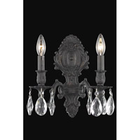 Elegant Lighting Monarch 2 Light Wall Sconce in Dark Bronze with Royal Cut Clear Crystal 8602W10DB/RC