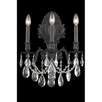 Elegant Lighting Monarch 3 Light Wall Sconce in Dark Bronze with Royal Cut Clear Crystal 8603W14DB/RC