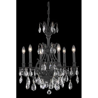 Monarch 6 Light 24 inch Dark Bronze Dining Chandelier Ceiling Light in Royal Cut