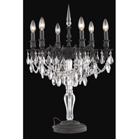 Elegant Lighting Monarch 6 Light Table Lamp in Dark Bronze with Royal Cut Clear Crystal 8606TL20DB/RC