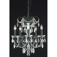 Elegant Lighting Athena 5 Light Dining Chandelier in Dark Bronze with Elegant Cut Clear Crystal 8705D18DB/EC