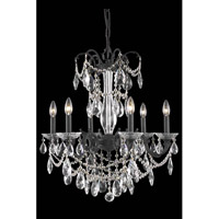 Elegant Lighting Athena 6 Light Dining Chandelier in Dark Bronze with Elegant Cut Clear Crystal 8706D23DB/EC