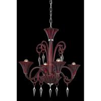 Elegant Lighting 8804D28RD/EC Symphony 4 Light 28 inch Red Chandelier Ceiling Light in Elegant Cut