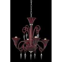 Symphony 4 Light 28 inch Red Chandelier Ceiling Light in Elegant Cut