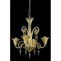 Elegant Lighting Symphony 4 Light Chandelier in Yellow with Swarovski Elements Clear Crystal 8804D28YW/SS