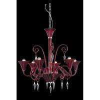 Elegant Lighting 8806D32RD/EC Symphony 6 Light 32 inch Red Chandelier Ceiling Light in Elegant Cut