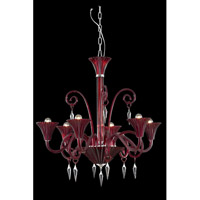 Elegant Lighting Symphony 6 Light Chandelier in Red with Swarovski Elements Clear Crystal 8806D32RD/SS
