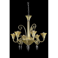 Elegant Lighting Symphony 6 Light Chandelier in Yellow with Swarovski Elements Clear Crystal 8806D32YW/SS