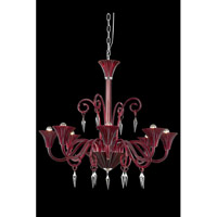 Symphony 8 Light 37 inch Red Chandelier Ceiling Light in Elegant Cut