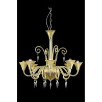 Symphony 8 Light 37 inch Yellow Chandelier Ceiling Light in Elegant Cut