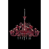 Elegant Lighting Symphony 24 Light Chandelier in Red with Elegant Cut Clear Crystal 8824G49RD/EC