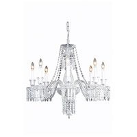 Elegant Lighting 8908D32SC/EC Majestic 8 Light 32 inch Silver and Clear Mirror Dining Chandelier Ceiling Light