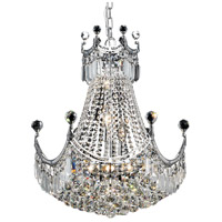 Elegant Lighting Corona 9 Light Dining Chandelier in Chrome with Elegant Cut Clear Crystal 8949D20C/EC