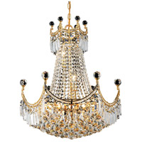 Elegant Lighting Corona 9 Light Dining Chandelier in Gold with Swarovski Strass Clear Crystal 8949D20G/SS