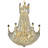 Elegant Lighting Corona 18 Light Dining Chandelier in Gold with Elegant Cut Clear Crystal 8949D24G/EC