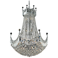 Elegant Lighting Corona 24 Light Dining Chandelier in Chrome with Elegant Cut Clear Crystal 8949D30C/EC