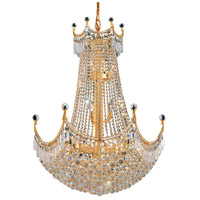 Elegant Lighting Corona 24 Light Dining Chandelier in Gold with Swarovski Strass Clear Crystal 8949D30G/SS
